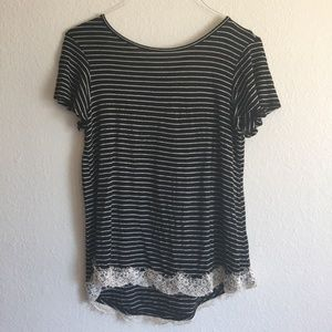 Black and White Striped Top with Lace, Cross Back